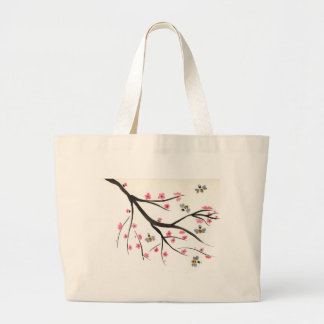 Honey Bees and Cherry Blossoms Large Tote Bag