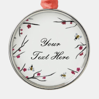 Honey Bees and Cherry Blossoms Metal Ornament