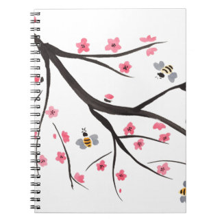 Honey Bees and Cherry Blossoms Note Books