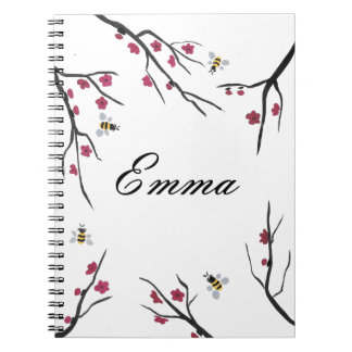 Honey Bees and Cherry Blossoms Notebook
