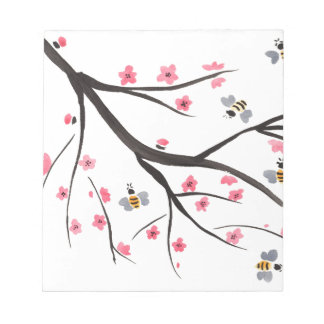 Honey Bees and Cherry Blossoms Notepad