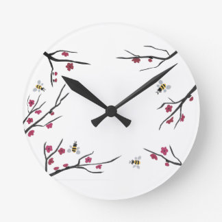 Honey Bees and Cherry Blossoms Round Clock