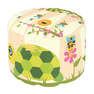 Honey Bees And Turtle Cotton Round Pouf