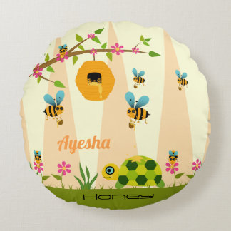Honey Bees And Turtle Round Throw Pillow