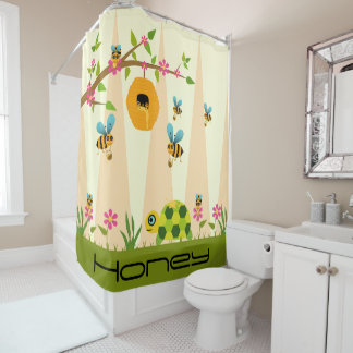 Honey Bees And Turtle Shower Curtain