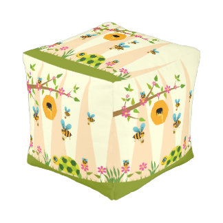 Honey Bees And Turtle Small Polyester Cube Pouf