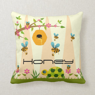 Honey Bees And Turtle Throw Pillow