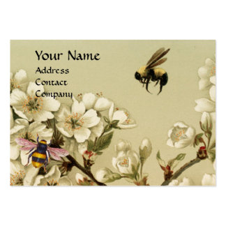 HONEY BEES AND WILD ROSES MONOGRAM LARGE BUSINESS CARD