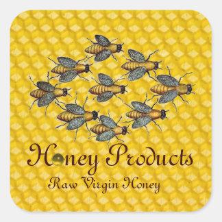 HONEY BEES / BEEKEEPER BEEKEEPING SQUARE STICKER
