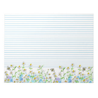 Honey Bees Chamomile Flowers Watercolor Lined Notepad