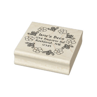 Honey Bees Flowers Custom Name Rubber Stamp