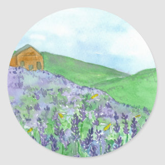 Honey Bees Lavender Field Mountain Meadow Round Sticker