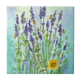 Honey Bees Lavender Watercolor Flowers Tile