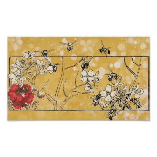 Honey Bees on a Red Rose Poster