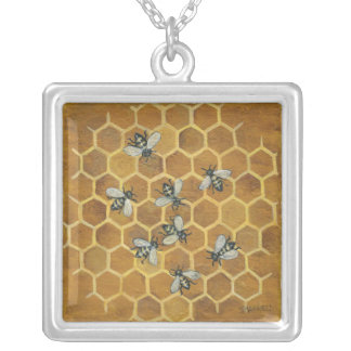 honey bees silver plated necklace