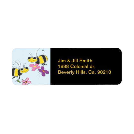 Honey Bees & Spring Flowers Return Address Label
