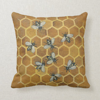 Honey Bees Throw Pillow