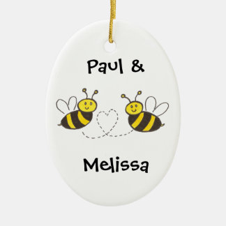 Honey Bees with Heart Ceramic Oval Ornament