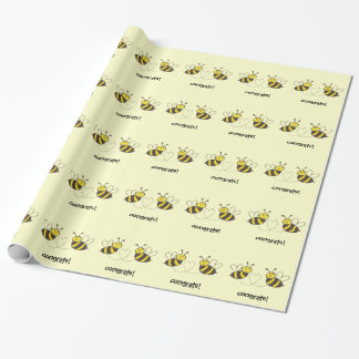 Honey Bees with Heart Congrats! Wrapping Paper
