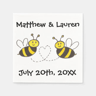 Honey Bees with Heart on White with Name and Date Disposable Napkins