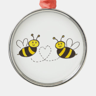 Honey Bees with Heart Silver-Colored Round Ornament