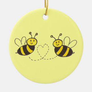 Honey Bees with Heart Round Ceramic Ornament