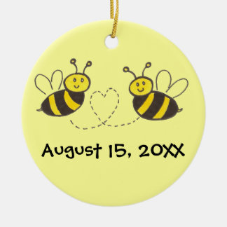 Honey Bees with Heart with Names and Date Round Ceramic Ornament
