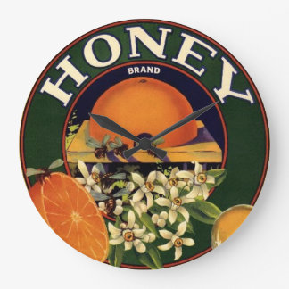Honey Brand Citrus Crate Label Large Clock