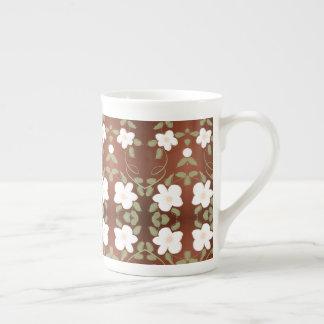 Honey Brown Flowered China Coffee Mug