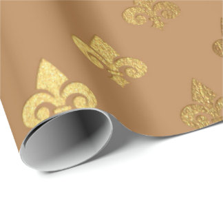 Honey Brown Sepia Gold Metallic Fleur-de-lis Wrapping Paper