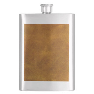 Honey Buckskin Leather Fine Grain Amber Mustard Flasks