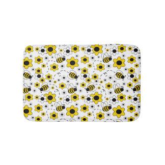 Honey Bumble Bee Bumblebee Girl Yellow Floral Bathroom Mat
