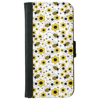 Honey Bumble Bee Bumblebee Girl Yellow Floral iPhone 6 Wallet Case