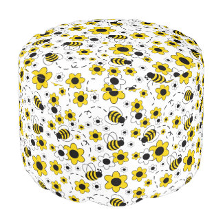 Honey Bumble Bee Bumblebee Girl Yellow Floral Pouf