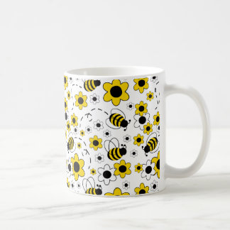 Honey Bumble Bee Bumblebee White Yellow Floral Coffee Mug