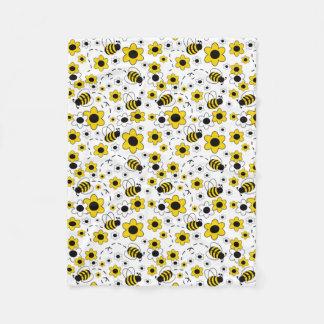 Honey Bumble Bee Bumblebee White Yellow Floral Fleece Blanket