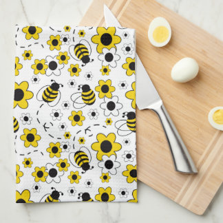 Honey Bumble Bee Bumblebee White Yellow Floral Kitchen Towel