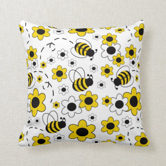 Honey Bumble Bee Bumblebee White Yellow Floral Throw Pillow