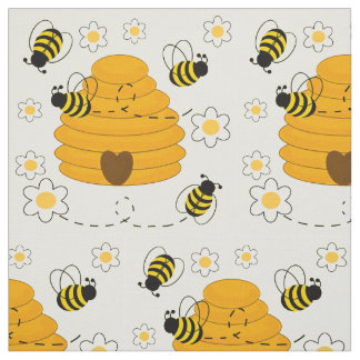 Honey Bumble Bee Hive Sunny Yellow Floral Fabric