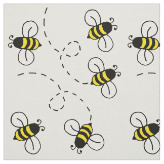 Honey Bumble Bee Sunny Yellow Nature Fabric