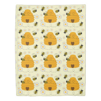 Honey Bumblebee Hive Yellow Daisy Floral Flower Duvet Cover