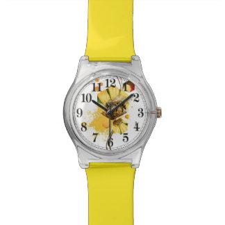 Honey comb bee yellow flower watch