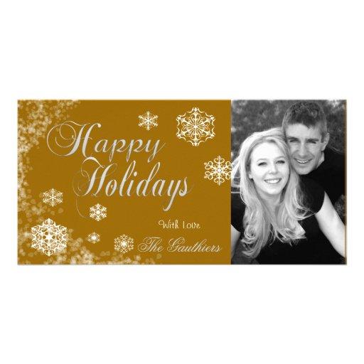Honey Gold Snowflake Holiday Winter Photo Card