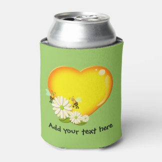 Honey Love Heart, Honey Bees and Flowers Custom Can Cooler