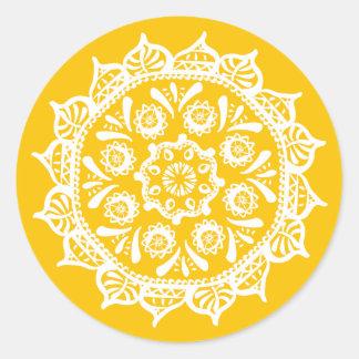 Honey Mandala Classic Round Sticker