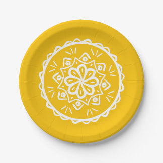 Honey Mandala Paper Plate