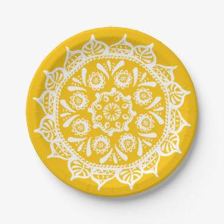 Honey Mandala Paper Plate