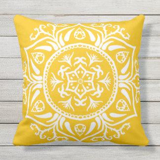 Honey Mandala Throw Pillow
