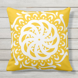 Honey Mandala Throw Pillow