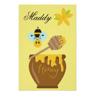 Honey Pot Honeybee Nursery Kids Wall Art Print